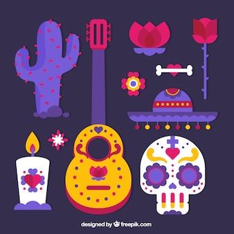 Elementos de halloween ajustaram no design plano