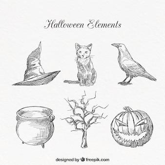 Elementos de halloween com estilo desenhado a mão