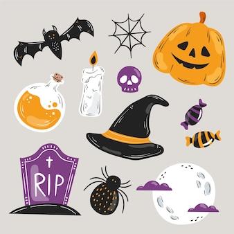Elementos de halloween desenhados à mão