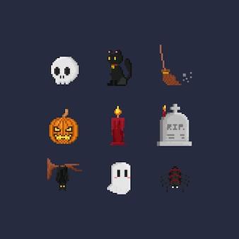 Elementos de halloween do pixel.