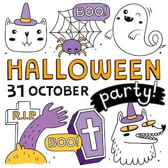 Elementos de halloween e coleção de personagens