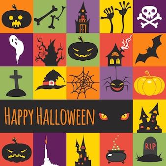 Elementos de halloween em quadrados coloridos