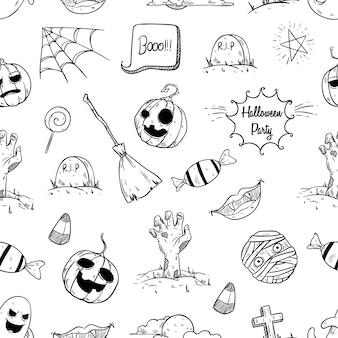 Elementos de halloween no padrão sem emenda com estilo mão desenhada