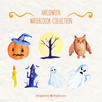 Elementos de halloween pintado com aguarelas