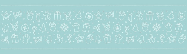 Elementos de ícone de natal borda fundo de gelo azul