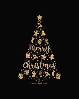Elementos de ícone de ouro de árvore de natal lettering fundo preto