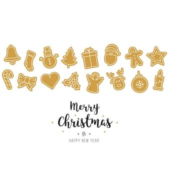 Elementos de ícones de ornamento de natal ouro isolado fundo