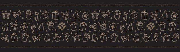 Elementos de ícones de ouro de natal fundo preto de fronteira