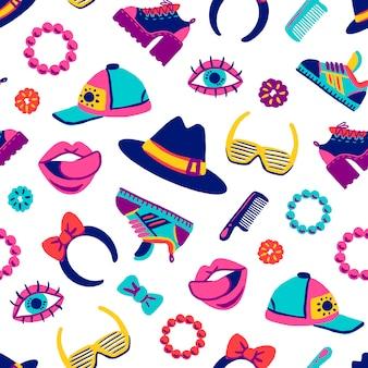 Elementos de ícones retrô padrão sem emenda no estilo dos desenhos animados desenhados à mão de mercadorias dos anos 80-90 na moda. acessórios de moda