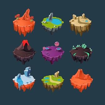 Elementos de ilhas isométricas para jogos