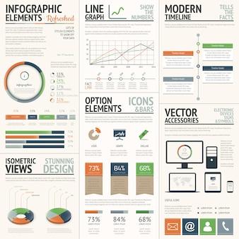 Elementos de infografia de vetores laranja e verde frescos e elegantes