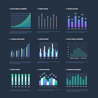 Elementos de infográfico a visualização de dados representa graficamente os processos do fluxo de trabalho de negócios. gráficos e diagramas de apresentação. gráficos