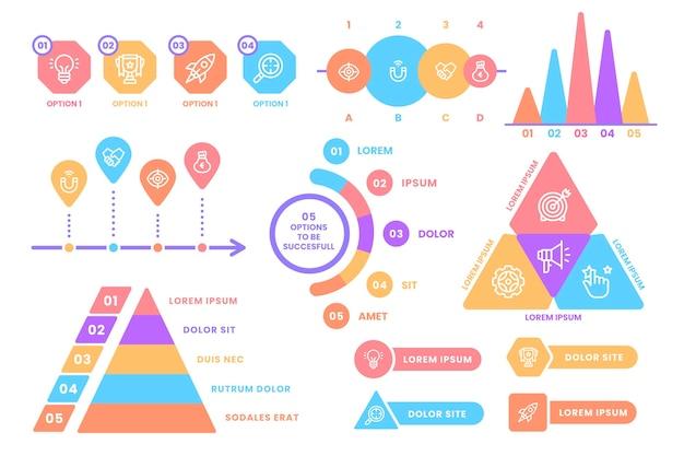 Elementos de infográfico coloridos