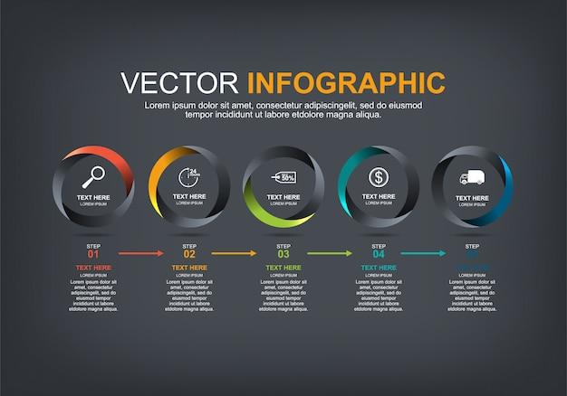 Elementos de infográfico com 5 opções