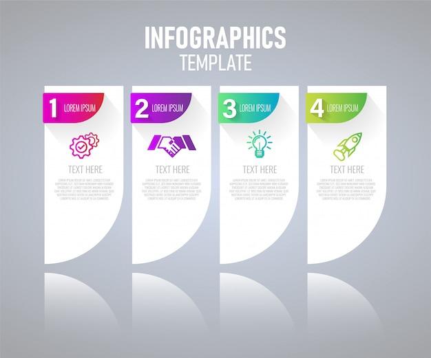 Elementos de infográfico com etapas para o conceito de apresentação, gráfico de planejamento de negócios