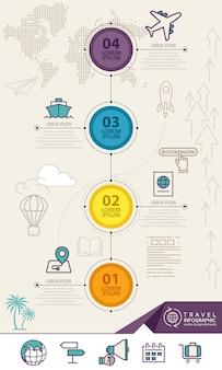 Elementos de infográfico com ícones de viagens