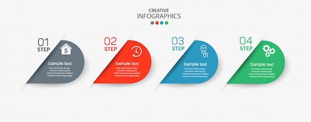 Elementos de infográfico com ícones e 4 opções ou etapas