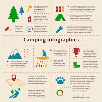 Elementos de infográfico de acampamento e turismo