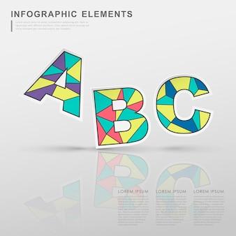 Elementos de infográfico de alfabetos coloridos geométricos isolados no branco