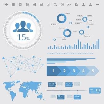 Elementos de infográfico de análise, em fundo branco