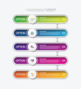 Elementos de infográfico de apresentação de negócios coloridos com 5 etapas