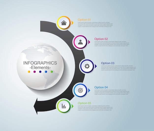 Elementos de infográfico de apresentação de negócios coloridos com cinco etapas