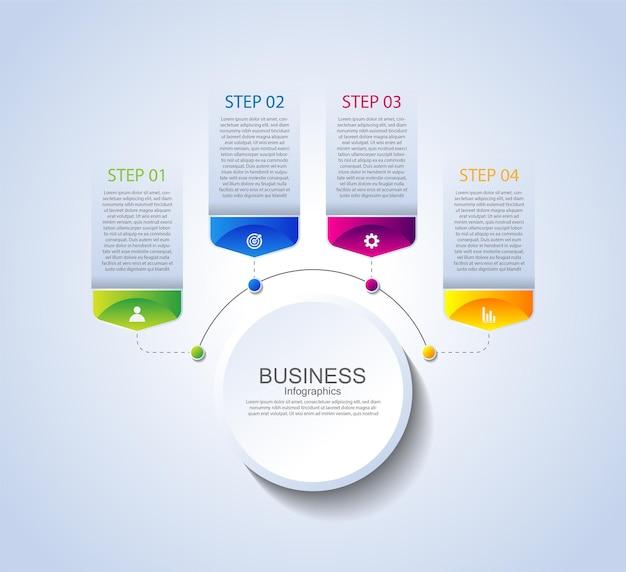 Elementos de infográfico de apresentação de negócios coloridos com quatro etapas