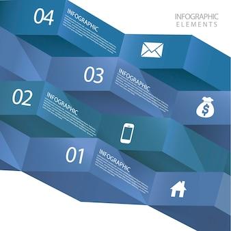 Elementos de infográfico de banner de origami 3d abstrato moderno