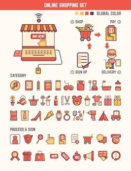 Elementos de infográfico de compras on-line para criança