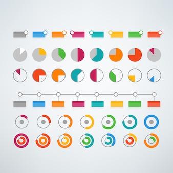 Elementos de infográfico de cores diferentes vetor clipart modelo para apresentação