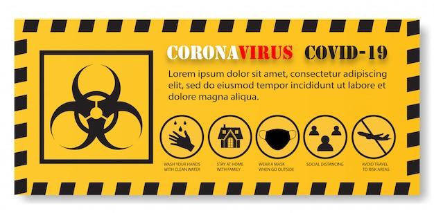 Elementos de infográfico de coronavírus, sinal de risco biológico, protegem a saúde de você e sua família.