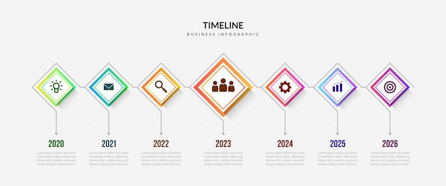 Elementos de infográfico de cronograma de negócios, gráfico de processo colorido com segmentos editáveis