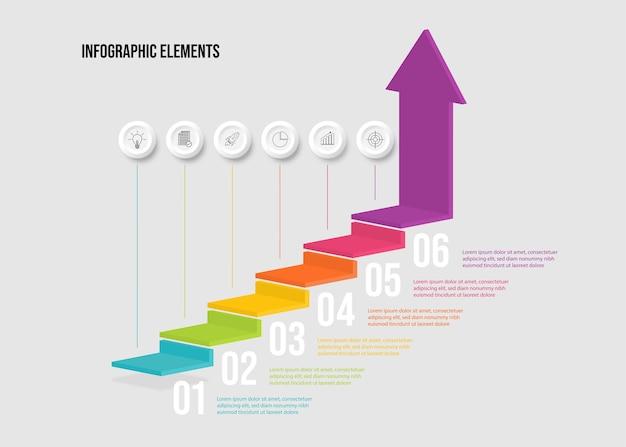 Elementos de infográfico de escada 3d colorido moderno projetam com 6 opções.