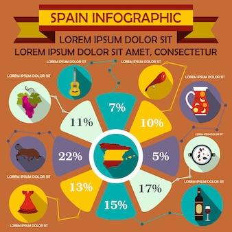 Elementos de infográfico de espanha em estilo simples para qualquer design