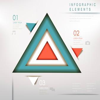 Elementos de infográfico de fluxograma abstrato triângulo moderno colorido