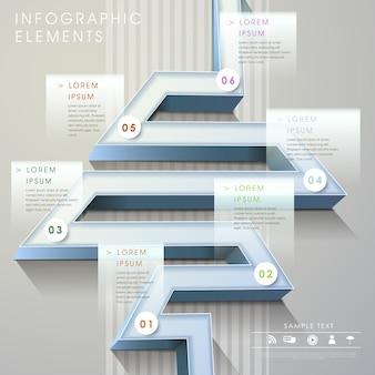 Elementos de infográfico de gráfico de barras 3d em estilo labirinto moderno