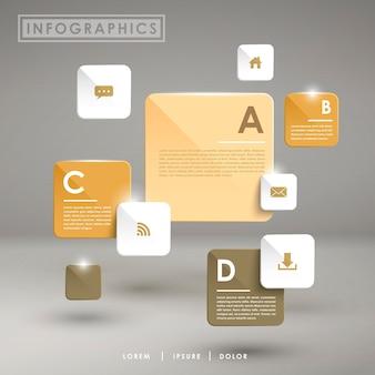 Elementos de infográfico de gráfico de barras lustroso e abstrato moderno