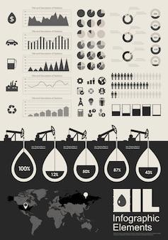 Elementos de infográfico de indústria de petróleo