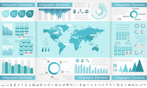 Elementos de infográfico de indústria de ti