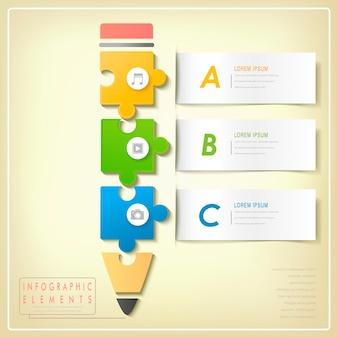 Elementos de infográfico de lápis de quebra-cabeça modernos isolados em amarelo