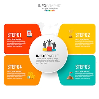 Elementos de infográfico de negócios com 4 opções ou etapas.