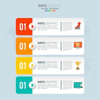 Elementos de infográfico de negócios com 4 opções ou etapas
