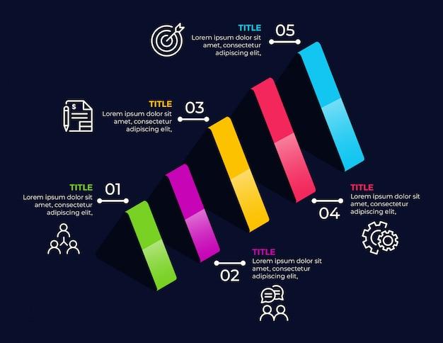 Elementos de infográfico de negócios com 5 opções