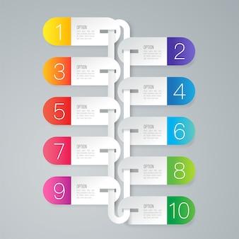 Elementos de infográfico de negócios de 10 etapas para a apresentação