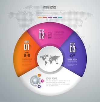 Elementos de infográfico de negócios de 3 etapas para a apresentação