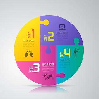 Elementos de infográfico de negócios de 4 etapas para a apresentação