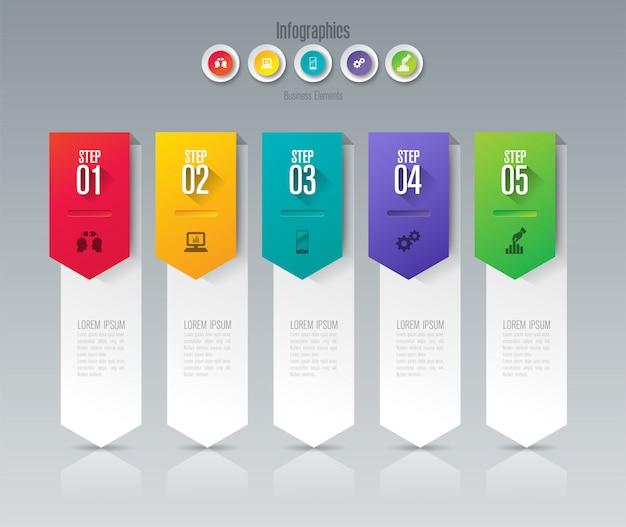 Elementos de infográfico de negócios de 5 etapas para a apresentação