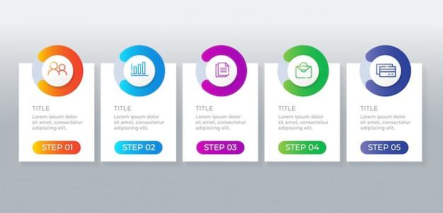 Elementos de infográfico de negócios de 5 etapas