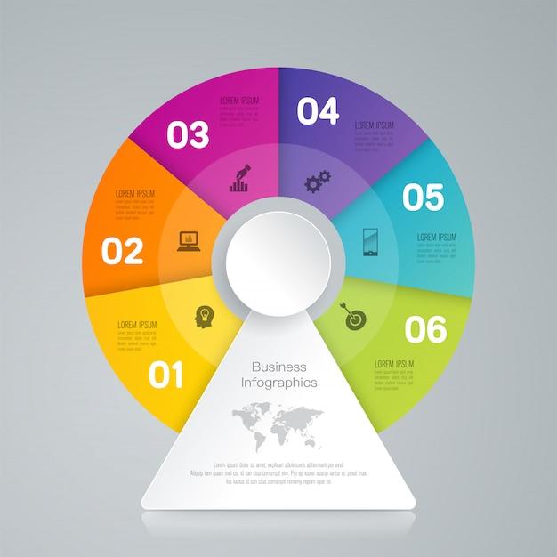 Elementos de infográfico de negócios de 6 etapas para a apresentação