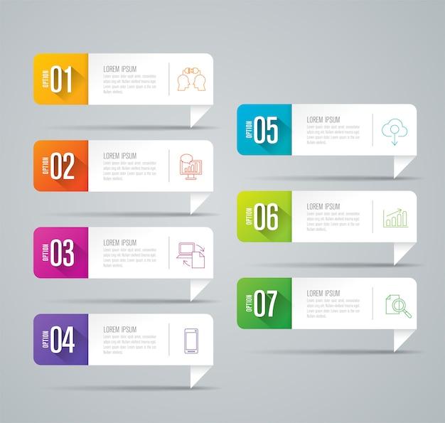 Elementos de infográfico de negócios de 7 etapas para a apresentação